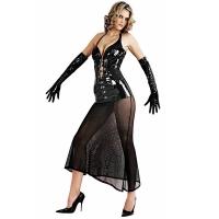 ledapol 1622 lakk kjole - vinyl lange kjol fetish