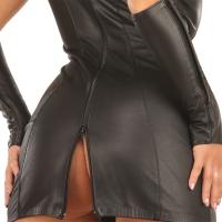 ledapol 5253 lær mini klänninge - kvinners korte klänninger