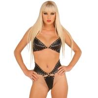 ledapol 5512 + 5513 lær brystholder + slip - 2 stk som sett - sexy lingerie