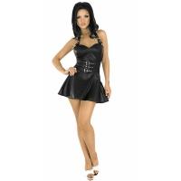 ledapol 5576 lær mini klänninge - kvinners korte klänninger